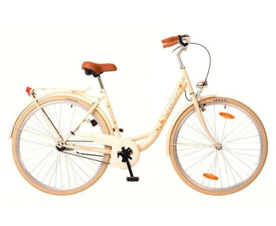 Neuzer Balaton Premium 28-as női városi kerékpár acél, 1s, acél, 18-as, krém színű, virágmintás