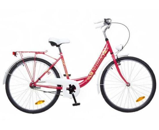 Neuzer Balaton Plus 26-os női városi kerékpár piros, virágmintás