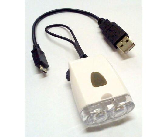 Trinity első lámpa, 2 LED, USB-ről tölthető, fehér