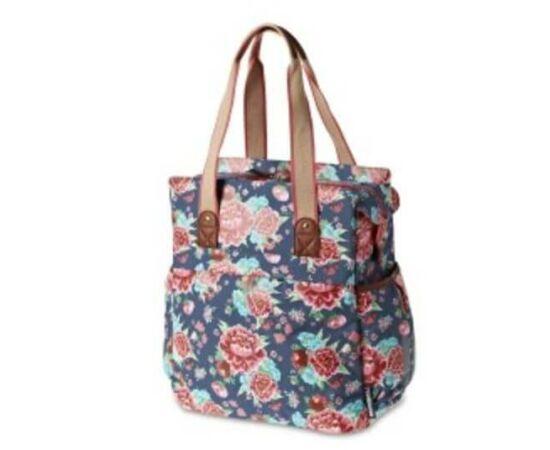 Basil Bloom Shopper egy részes táska csomagtartóra, 20L, virágmintás, kék