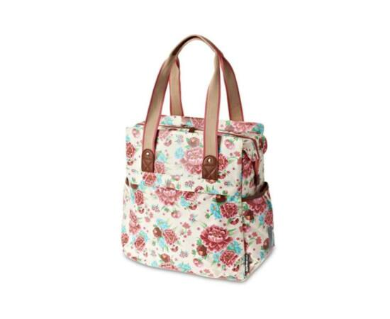 Basil Bloom Shopper táska csomagtartóra, virágos, fehér