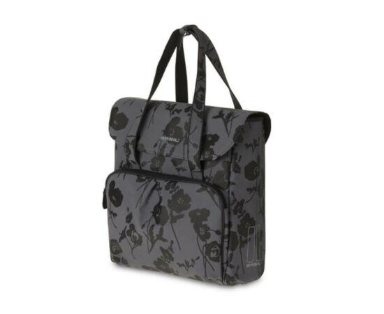 Basil Elegance Shopper táska csomagtartóra, virágos, sötétszürke