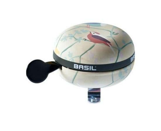 Basil Wanderlust acél retró csengő, 80 mm, krém - madár mintás