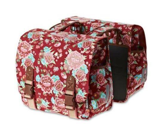 Basil Bloom két részes túratáska csomagtartóra, 35L, fehér, virágmintás