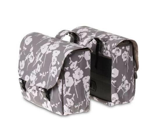 Basil Elegance két részes táska csomagtartóra, 2x16L, világos szürke, mintás