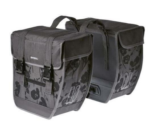 Basil Tour Elegance XL két részes táska csomagtartóra, 40L, virágmintás, szürke