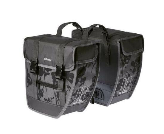 Basil Tour Elegance két részes táska csomagtartóra, 26L, virágmintás, szürke