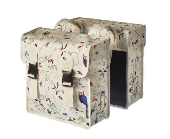 Basil Wanderlust két részes táska csomagtartóra, 35L, madár mintás, tört fehér