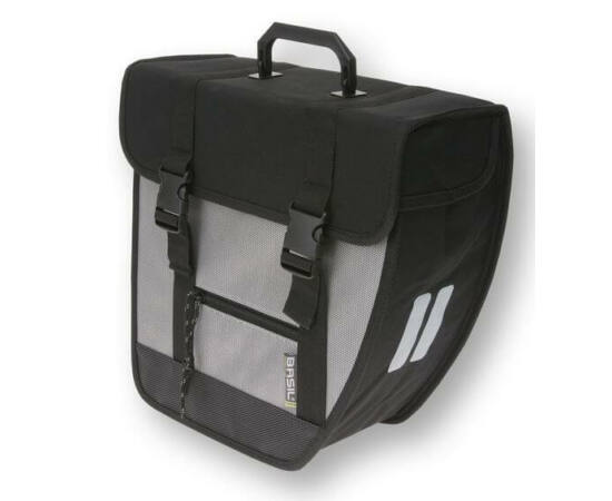 Basil Tour Single 17L táska csomagtartóra, jobb oldali, fekete-ezüst