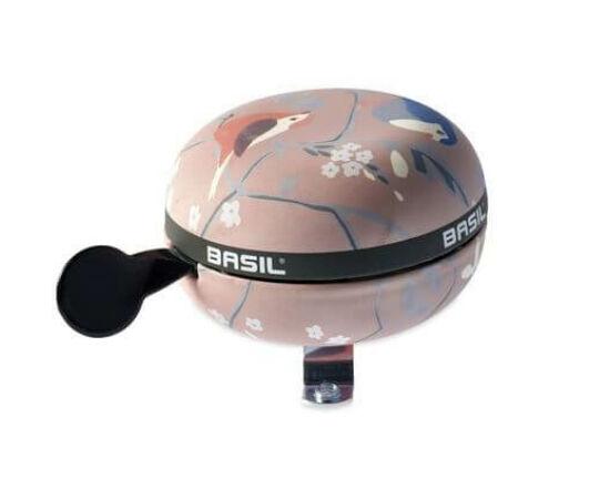 Basil Wanderlust acél retró csengő, 80 mm, rózsaszín  - madár mintás