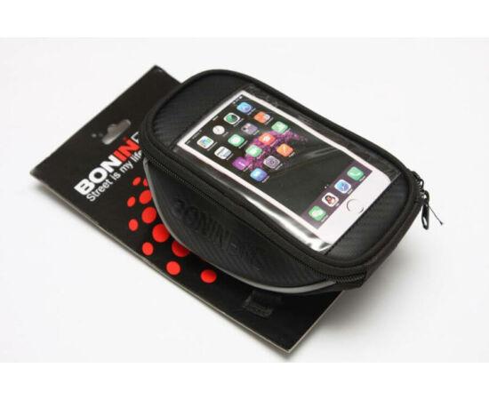BoninBike kormánytáska kormányszárra mobiltelefon tartóval (max. 5,5 colos telefonokhoz), karbon mintás