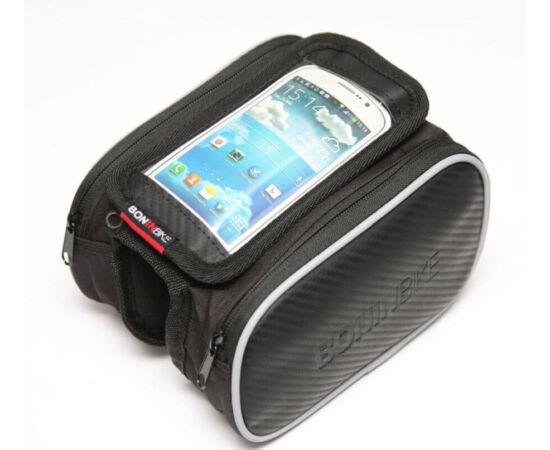 BoninBike váztáska felsőcsőre mobiltelefon tartóval (max. 4,7 colos telefonokhoz), karbon mintás