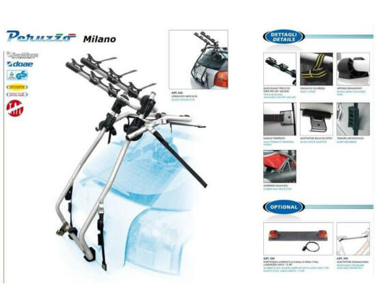 Peruzzo Milano acél kerékpárszállító hátsó ajtóra, 3 bringa