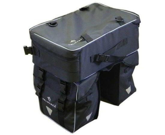 Velotech túratáska hátsó csomagtartóra, levehetó bőrönddel