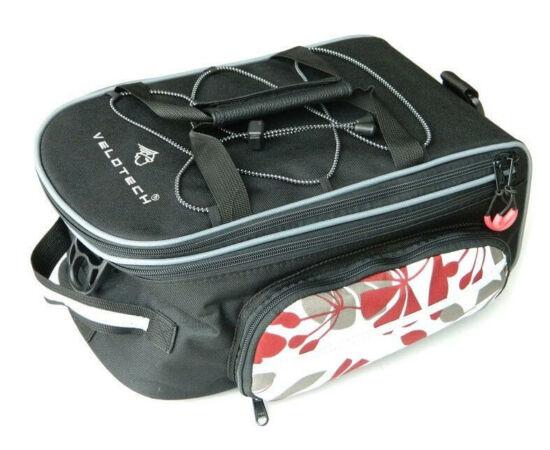 Velotech túratáska hátsó csomagtartóra, virágmintás fekete, 5,8L