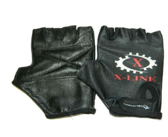 Velotech X-Line ujjatlan kerékpáros kesztyű, fekete, S