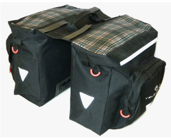 Velotech túratáska hátsó csomagtartóra, skótkockás 2x10,9L