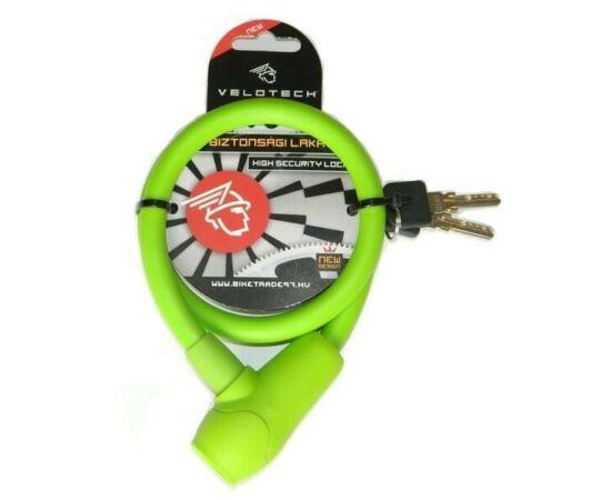 Velotech kulcsos sodronyzár 12 x 650 mm zöld