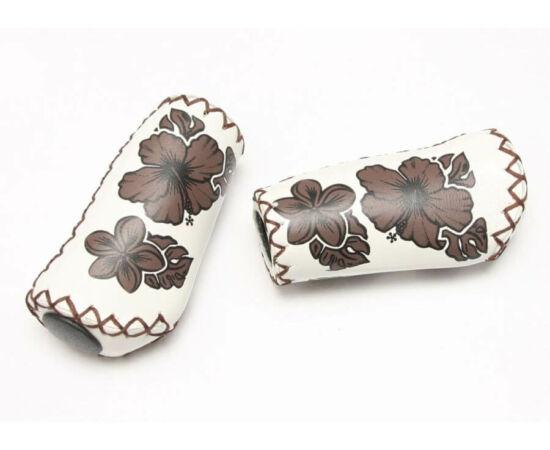 Velo ergonomikus bőr markolat, 95 mm, agyváltóhoz, virágmintás, fehér