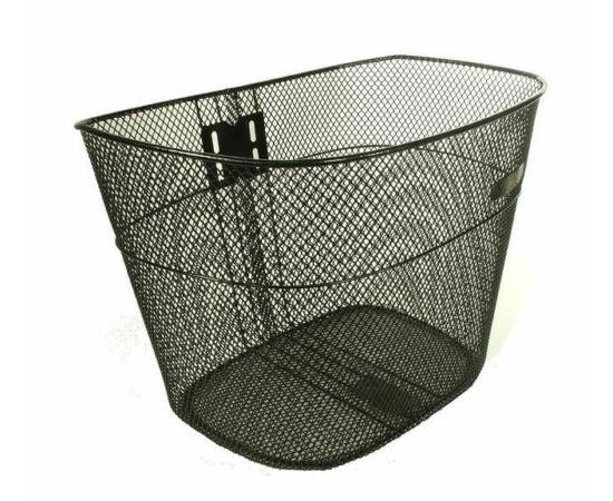 Neuzer fém kosár előre, 32x23x22 cm,, sűrű szövésű, fix rögzítésű, 26-os kerékpárhoz, fekete