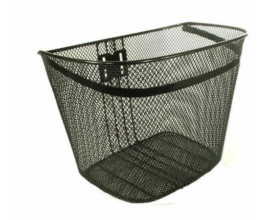 Neuzer fém kosár előre, ovális, 37x28x28 cm,, sűrű szövésű, fix rögzítésű, 26-os kerékpárhoz, fekete