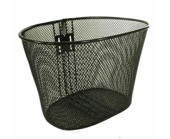 Neuzer fém kosár előre, ovális, 37x25x26 cm,, sűrű szövésű, fix rögzítésű, 26-os kerékpárhoz, fekete