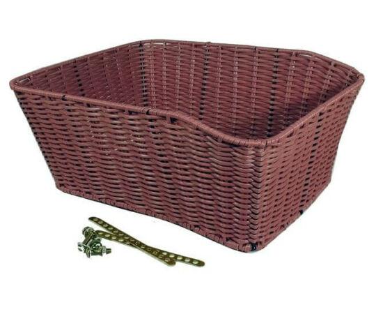 Neuzer fonott vessző (rattan) kosár csomagtartóra, 39 X 28 X 17 cm, lila