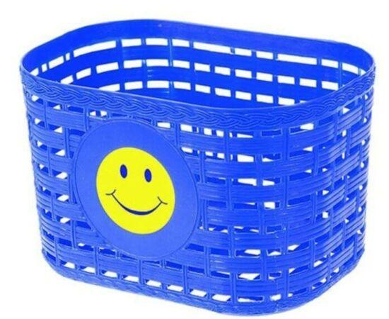 Neuzer műanyag első kosár gyerek kerékpárra, fonott mintás, kék, smiley-s