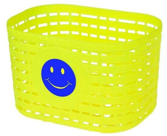 Neuzer műanyag első kosár gyerek kerékpárra, fonott mintás, sárga, smiley-s