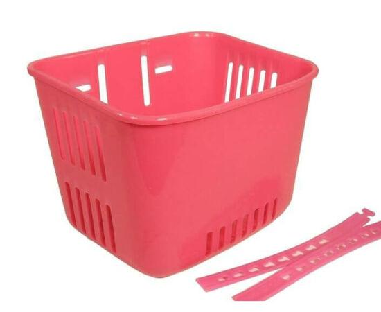 Neuzer műanyag első kosár gyerek kerékpárra, fonott mintás, rózsaszín