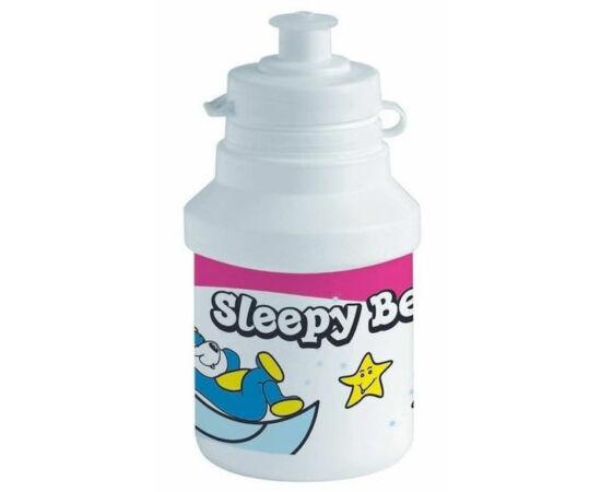 Polisport Junior Sleepy Bear gyerek kulacs, 300 ml, pattintós, fehér-rózsaszín