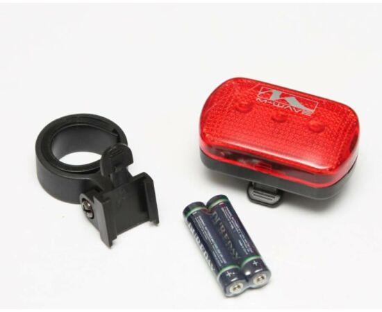 M-Wave 3 LED-es elemes hátsó lámpa nyeregcsőre, piros, elemekkel