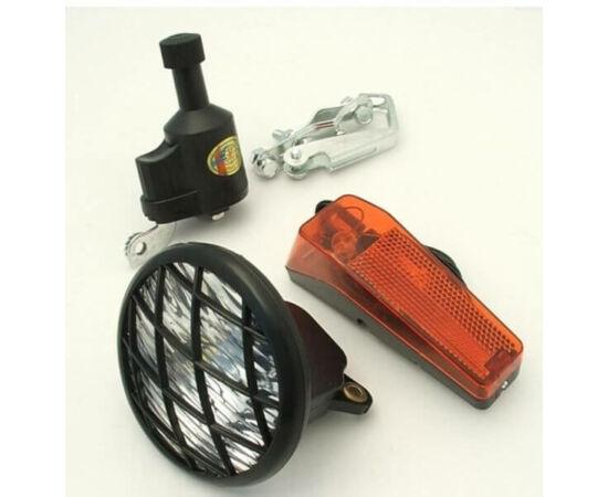 Neuzer hagyományos dinamós lámpa szett (rácsos első, hátsó lámpa és dinamó)