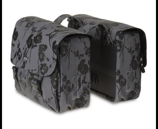 Basil Elegance két részes táska csomagtartóra, 2x16L, szürke, mintás
