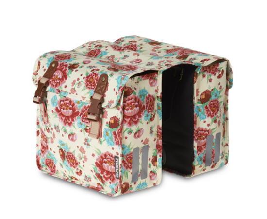 Basil Bloom két részes táska csomagtartóra, 2x10L, virágmintás