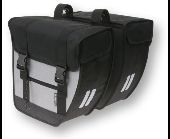 Basil Tour két részes táska csomagtartóra, 2x13L, fekete-ezüst
