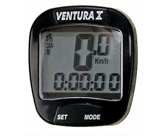 Ventura X vezetékes kerékpár komputer, 10 funkciós, fekete