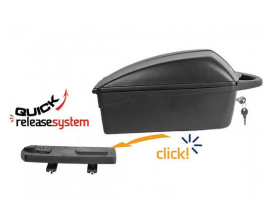 Polisport Top Case zárható, gyorszáras műanyag doboz csomagtartóra, 11 liter, fekete