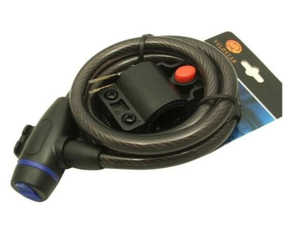 Tonyon kulcsos sodronyzár, 12 mm x 150 cm, porvédős, füst színű