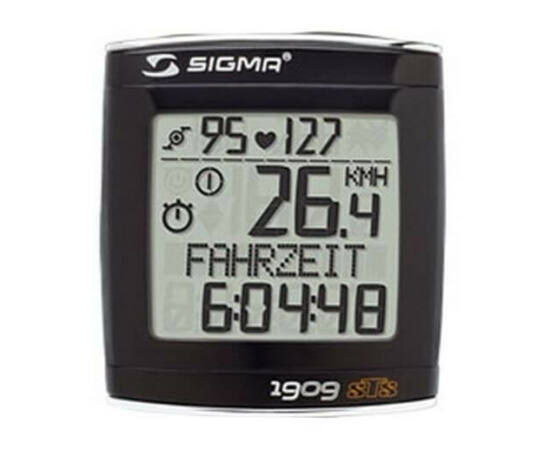 Sigma 19.09 vezeték nélküli kerékpár komputer, pulzus- és pedálford. mérős, fekete