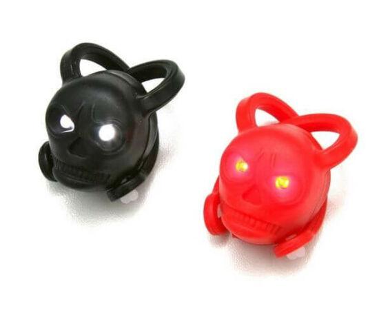 Spyral Bulb halálfejes villogó lámpa szett (első + hátsó) 2 LED-es, fekete-piros