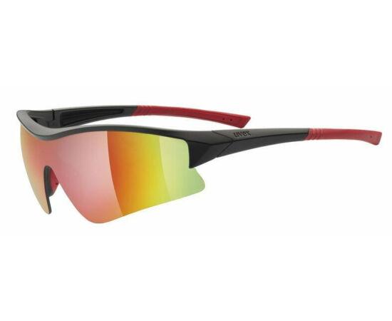 Uvex Sportstyle 103 cserélhető lencsés kerékpáros sportszemüveg, fekete-piros, 3 lencsével (S3-S1-S0)