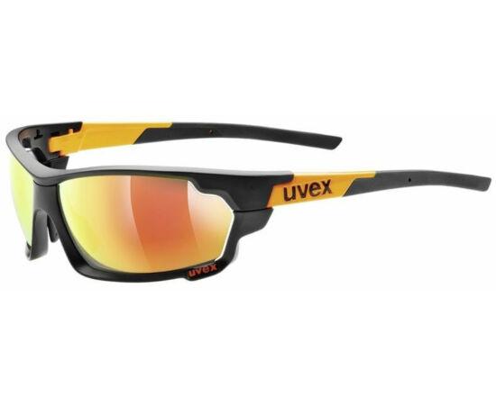 Uvex Sportstyle 702 cserélhető lencsés sportszemüveg, matt fekete-narancs, 3 lencsével (S3-S1-S0)