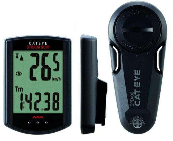 Cateye Strada Slim CC-RD310 vezeték  nélküli kerékpár computer, 8 funkció, fekete