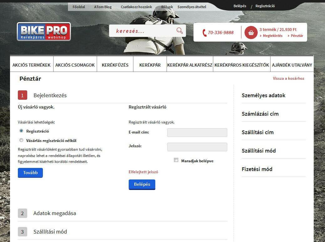 Bikepro webáruház pénztár