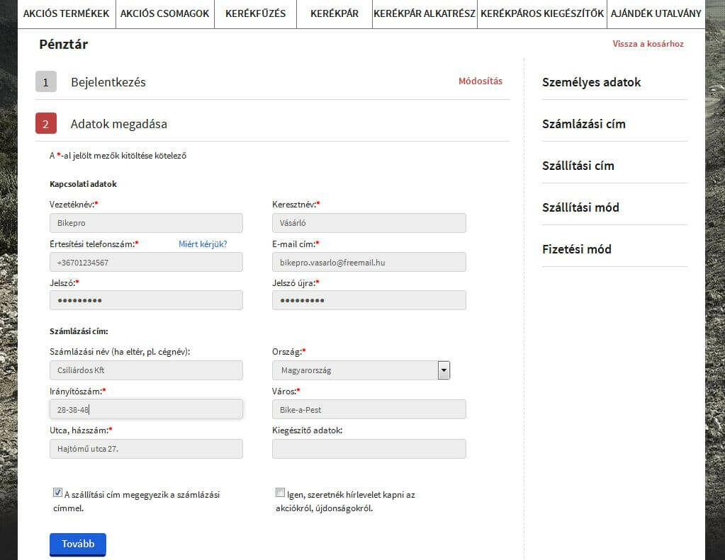 Bikepro webáruház személyes adatok megadása