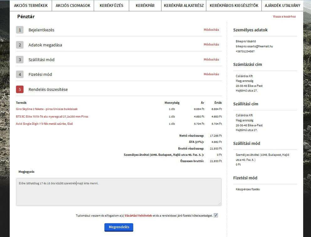 Bikepro kerékpár webáruház rendelés megerősítése