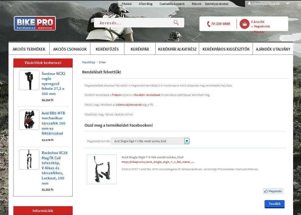 Bikepro webáruház sikeres rendelés