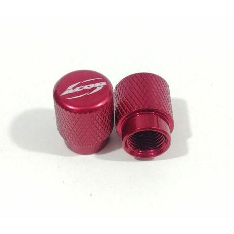 Acor AOS-21301B kupak alumínium szelepsapka, recés, autó szelepes, párban, piros