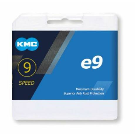 KMC E9 e-bike kerékpár lánc középmotoros pedelec-hez, 9s, 136 szem, patentszemmel, ezüst színű